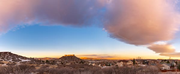 Photo of Colorful Bow Cloud Above Castle Rock Colorado at Sunrise