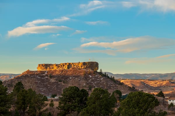 """Close up Photo of """"The Rock"""" in Castle Rock CO During First Light at Sunrise"""