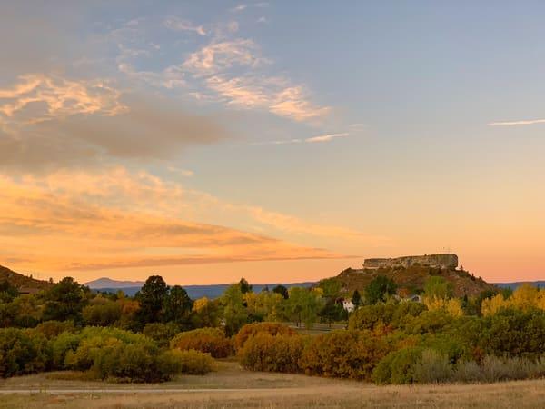 Sunrise Photo of Castle Rock Colorado & Pikes Peak with Fall Colors