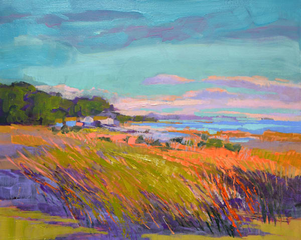 Autumn Coastal Marsh Painting, Canvas Print by Dorothy Fagan