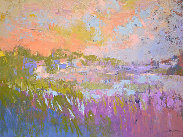 Pastel Abstract Landscape Painting, Canvas Print by Dorothy Fagan
