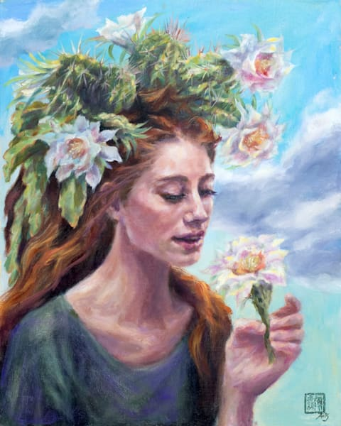 Cactus Queen: Desert Lily. Another painting of Ans Taylor's Cactus Queen series, oil on linen