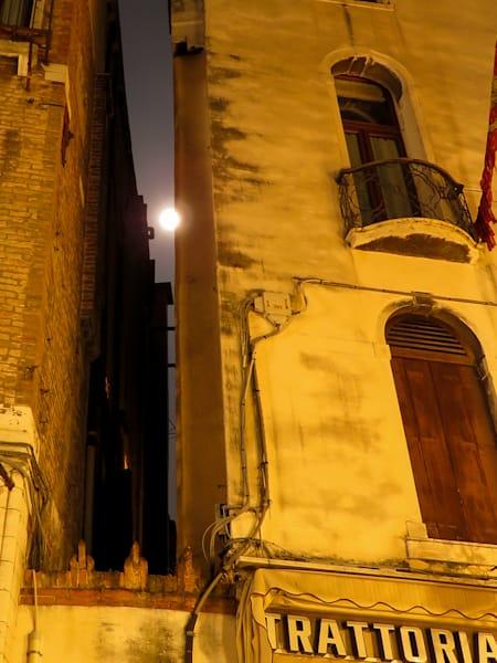 Moon Peeks through Gap, Venice, Italy