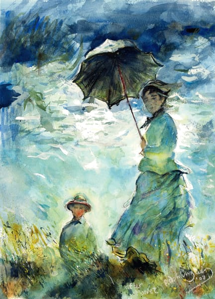 Woman With A Parasol After Monet Art | Patrick Dominguez Art