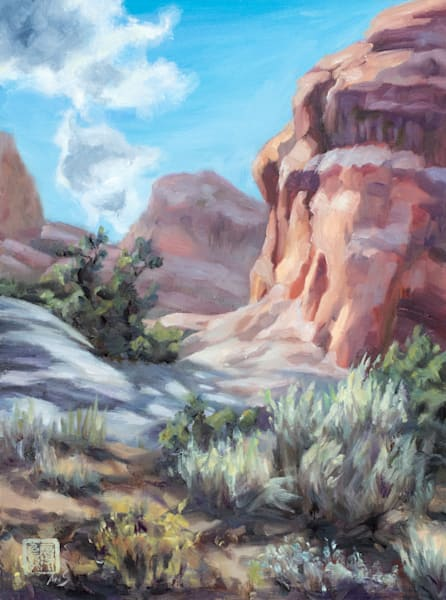 Moab - Hiking through monuments is an oil painting by Ans Taylor