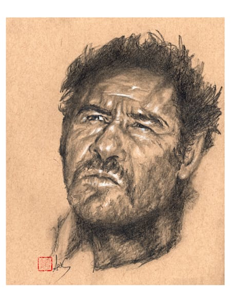 Eli Wallach aka Tuco aka El Brutto / The Ugly, pencil and charcoal on toned paper by Ans Taylor