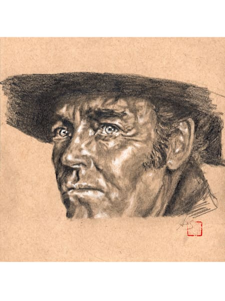 Henry Fonda in Once Upon A Time In The West, drawing by Ans Taylor