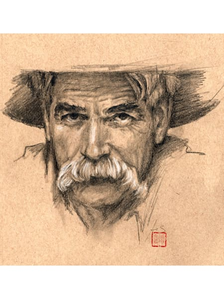 Sam Elliott, drawing by Ans Taylor