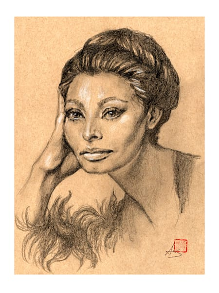 Sophia Loren, drawing by Ans Taylor