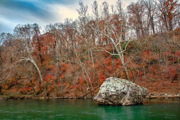 Shoal Creek Boulder at Wildcat Glades Photograph 4021 | Missouri Photography | Fall Photo | Koral Martin Fine Art Photography