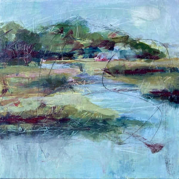Marsh Morning,  12 x 12 square mixed media original painting by Southern artist, Laura McRae Hitchcock