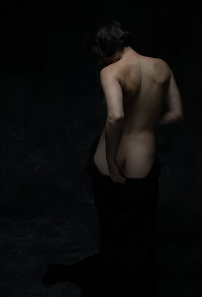 Nude With Black Drape Photography Art | Dan Katz, Inc.