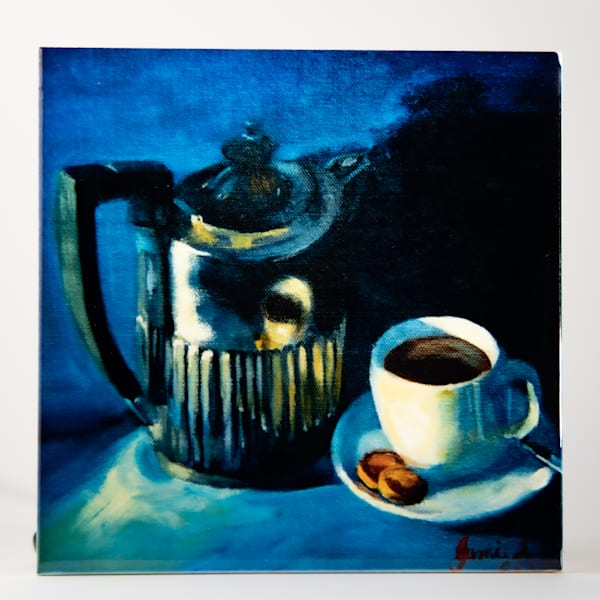Decorative Tile   Teacup On Blue Background | Jamie Lightfoot, Artist