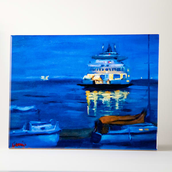 Decorative Tile   Blue Water And Ferry | Jamie Lightfoot, Artist