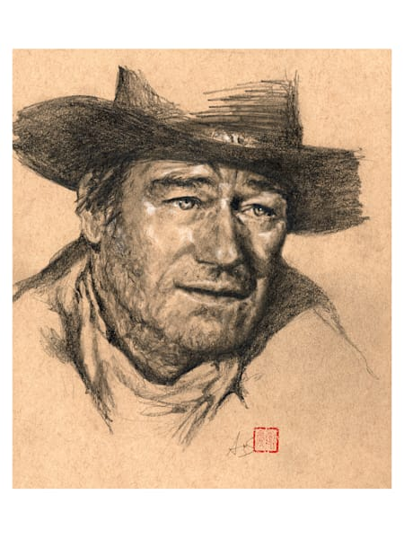 John Wayne, pencil and charcoal drawing on toned paper, by Ans Taylor
