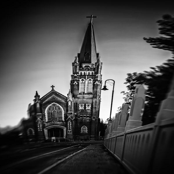 Fine art black and white image of Tacoma Landmark Holy Rosary Church