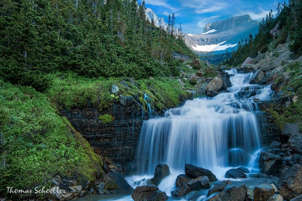 Glacier National Park fine art waterfalls photography | Lunch Creek cascades by Thom Schoeller