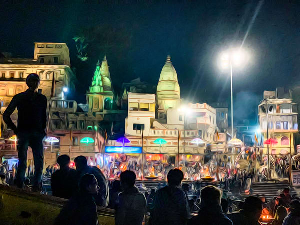 Varanasi evening ceremony from the Ganges River