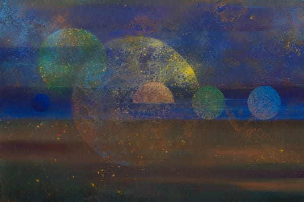 Etic Landscape #4 - Abstract cosmic landscape painting by David Copson
