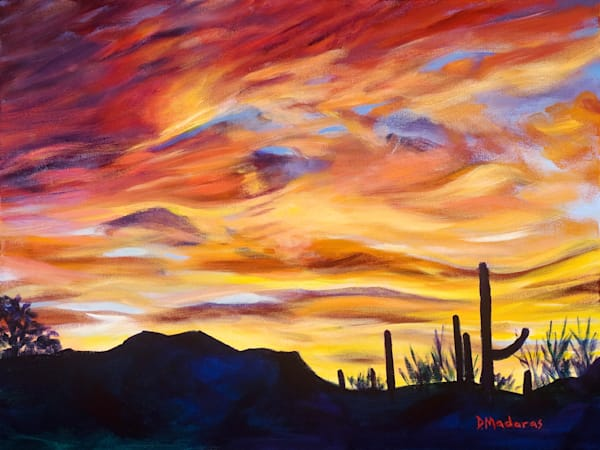 Sunset Desert Scene Mini Canvas by Diana Madaras