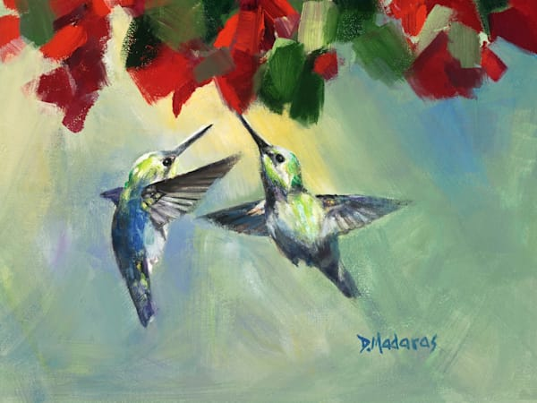 Two Hummingbirds Mini Canvas by Diana Madaras