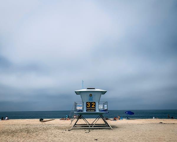 Carlsbad California lifeguard station 32 on the beach.