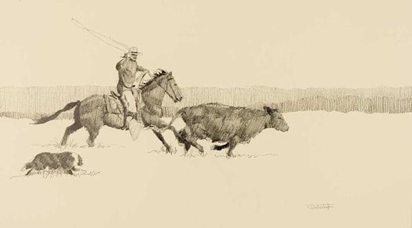 "Raymond Wattenhofer Art Drawing ""Cowhand & His Dog""."