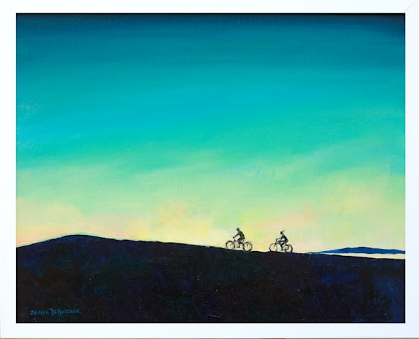 Silhouette Cyclist original artwork Llanelli