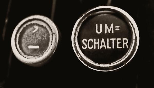 German Typewriter Shift Key In Dark Sepia Photography Art   TONYGRIDERIMAGES.COM
