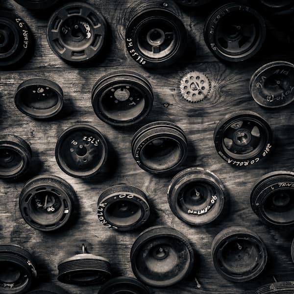 Scrap Yard Pully Wheels Photography Art | Dan Katz, Inc.