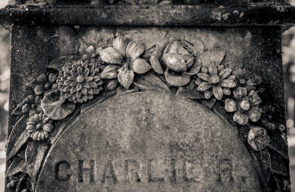 Floral Embellishment Grave Lone Fir Cemetery Portland Photography Art | Dan Katz, Inc.