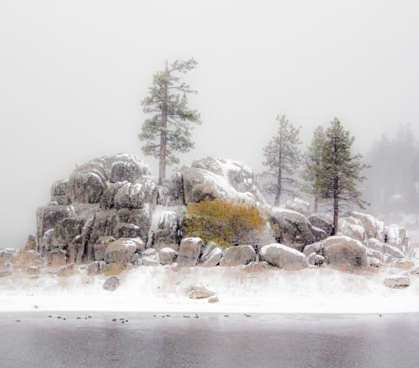 Rock Outcrop In Snow   Big Bear Photography Art | Dan Katz, Inc.