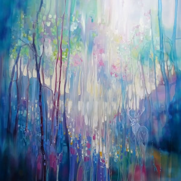 Large sussex landscape painting on canvas of a blue stag in a spring wood with bluebells and wildflowers
