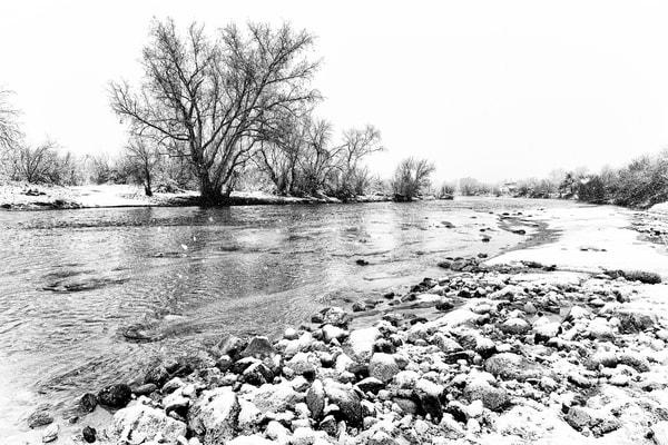 Sabino Creek Snow 037, B&W Photography Art | Carol Brooks Parker Fine Art Photography