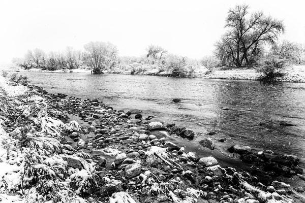 Sabino Creek Snow 032, B&W Photography Art | Carol Brooks Parker Fine Art Photography