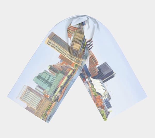 Art Scarf : Our Harbor From Fedral Hill..smaller scarf.
