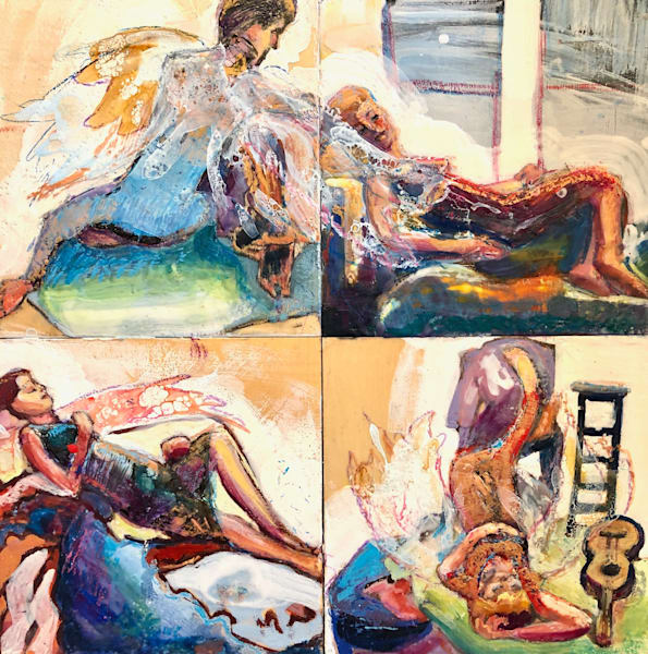 """Glory Carriers"" Four angelic figures reclining. 4 Encaustic wax paintings on wood cradleboard put together as a square measures 24"" x 24"""