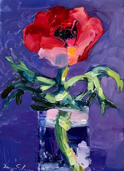 "Striking ""Together Still Life With Red Anemone"" by Monique Sarkessian. Oil painting on wood measures 7"" x5"". Framed with a white wood frame."