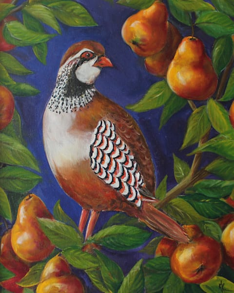 A Partridge in a Pear Tree | Twelve Days of Christmas Art by Kristine Kainer
