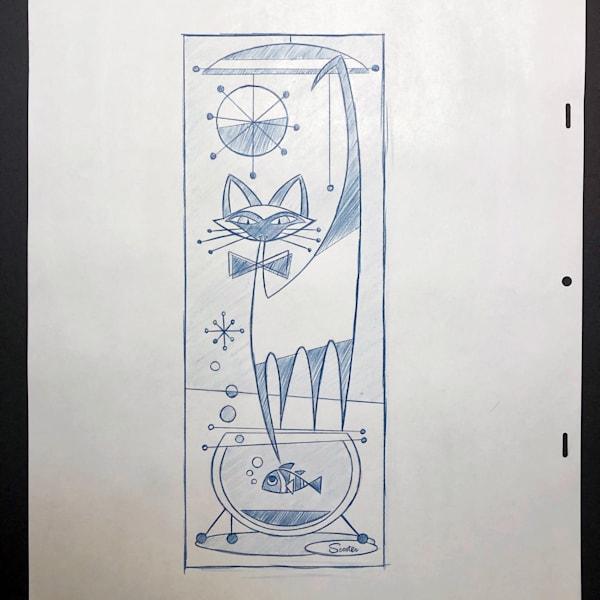 'That Darn Cat' Original Conceptual Drawing