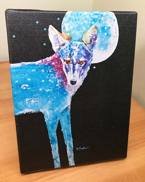 Fly Me to the Moon Coyote Mini Canvas