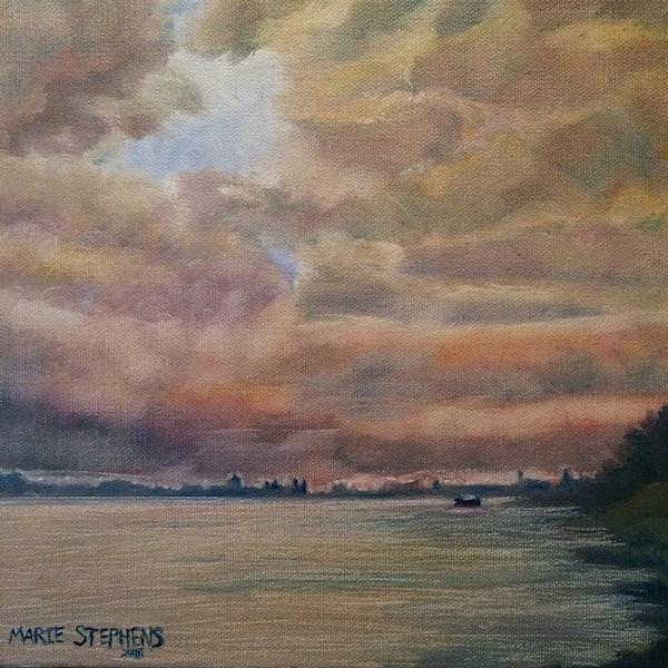 Mississippi River Sunset Original Oil Painting Art | Marie Stephens Art