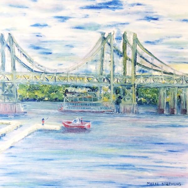 The I74 Bridge Bettendorf Iowa Original Plein Air Oil Painting Art | Marie Stephens Art
