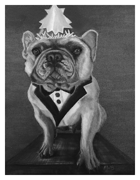 Black And White Gerry Frenchie For Digital Print 8.5 X 11 On 120 Pound Coated Cover Stock Art | Marie Stephens Art