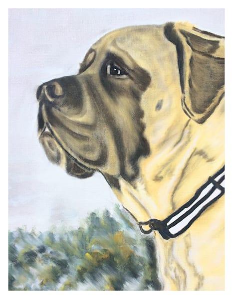 Bert English Mastiff Side Profile For 8.5x11 Digital Print On 120 Pound Coated Cover Stock Art | Marie Stephens Art