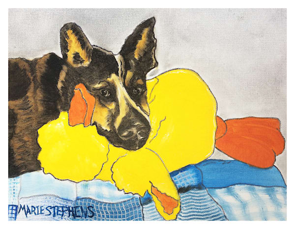 Blue Healer With Duck For Digital Print On 8.5 X 11 120 Pound Coated Cover Stock Art | Marie Stephens Art