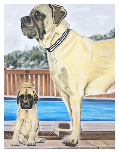 For Digital Print On 8.5x11 120pound Coated Cover Stock Bert And Ernie Headshot English Mastiff By Pool Art   Marie Stephens Art