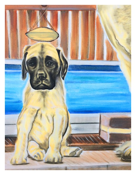 Ernie English Mastiff Puppy By Pool For Digital Print On 8 Copy.5 X 11 120 Pound Coated Cover Stock Art   Marie Stephens Art