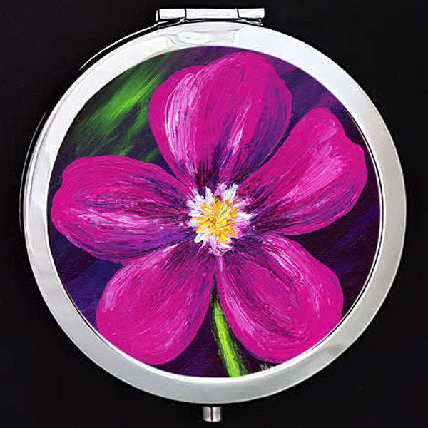 """""""Pink Love"""" painting by Mare's Art printed on a mirrored compact."""