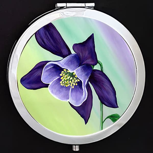 """Graceful Columbine"" painting by Mare's Art printed on a mirrored compact."